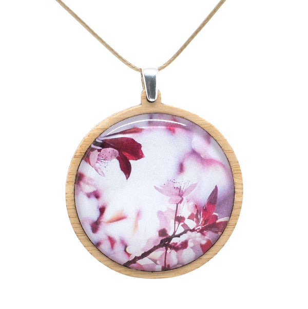 Pink Blossom - Pendant (Large) Bamboo Wooden Nature Jewellery Handmade in Tasmania Australia Myrtle & Me Eco Friendly Gift
