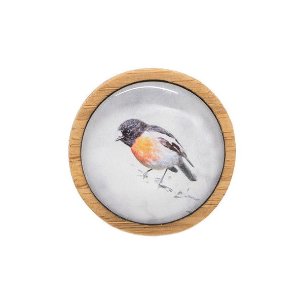 Scarlet Robin - Brooch Handmade Bamboo Wooden Jewellery Myrtle & Me Tasmanian Design Eco Friendly Nature Gift