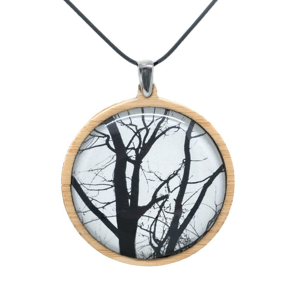 Winter Trees - Pendant (Large) Bamboo Wooden Nature Jewellery Handmade in Tasmania Australia Myrtle & Me Eco Friendly Gift