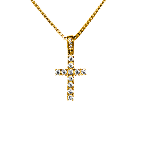 18K Yellow Gold Micro Cross