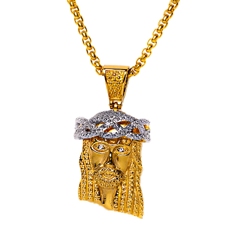 18K Yellow Gold Micro XL Jesus Piece w/ White Gold Crown