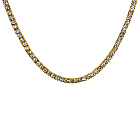 18K Yellow Gold Round Cut Tennis Chain