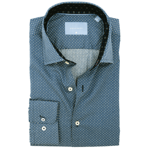 PIERRE CARDIN Le Bleu Business Smart Slim Fit Casual Körmintás Tengerkék Színű Ing