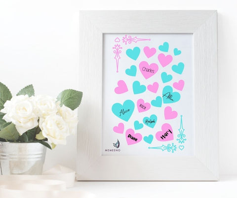 White frame with pink and blue hearts image