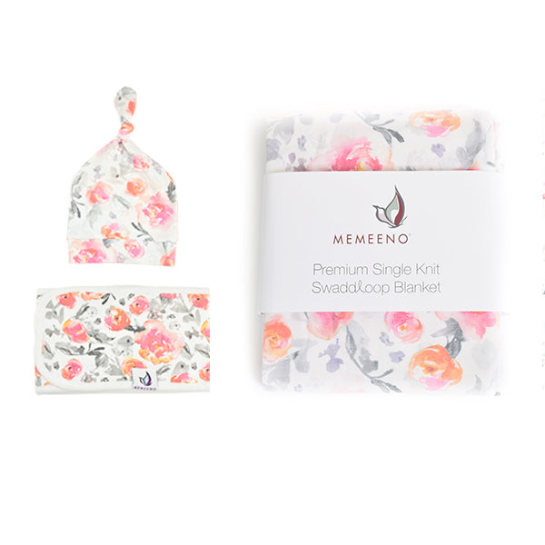 Floral bundle of swaddle, hat and belly band
