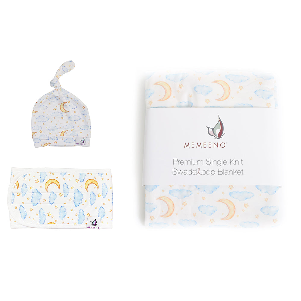 luna bundle of swaddle top knot hat and band