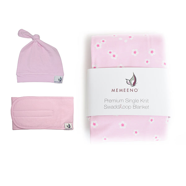 cherry blossom swaddle, hat and belly band