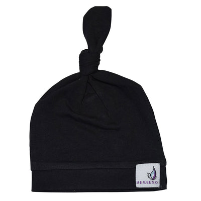 noir black top knot hat for baby