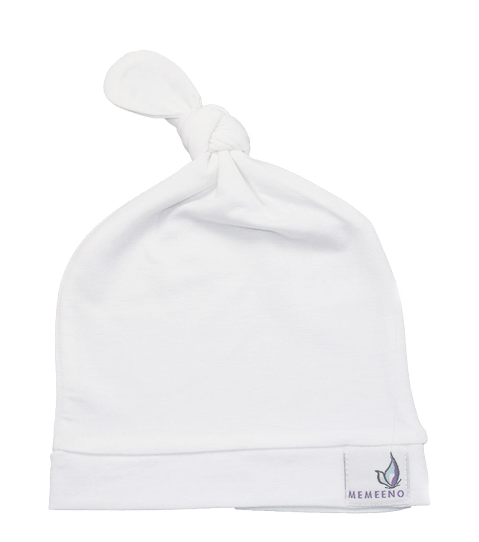 MEMEENO baby top knot hat white pearl