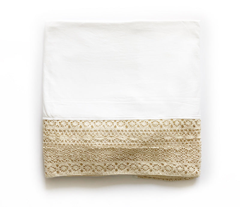 Heirloom swaddle  baby blanket white with beige crochet lace handmade