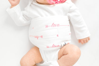 Love Her Belly Band for gas & colic relief pink girl