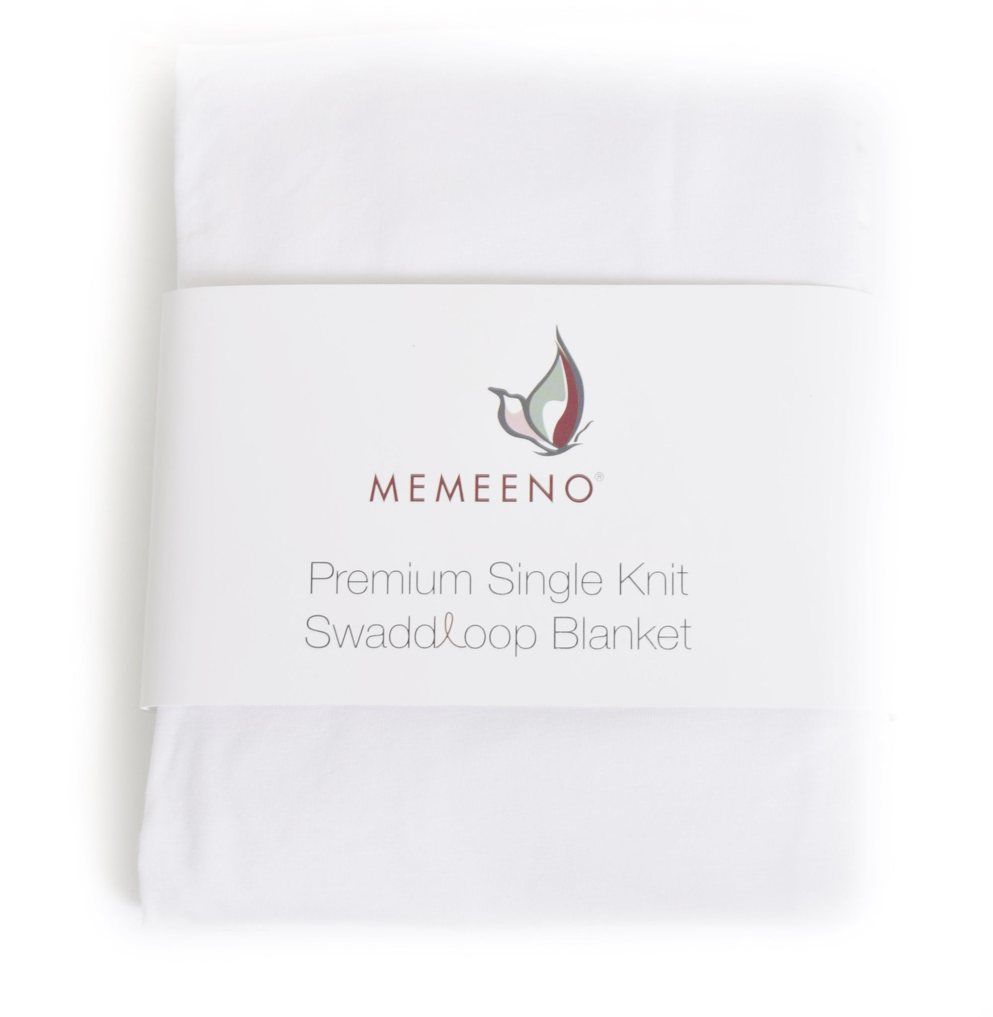 white memeeno baby swaddle blanket packaged