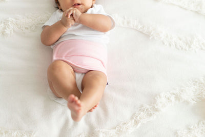 memeeno belly band for gas, colic relief organic cotton pink sweet pea