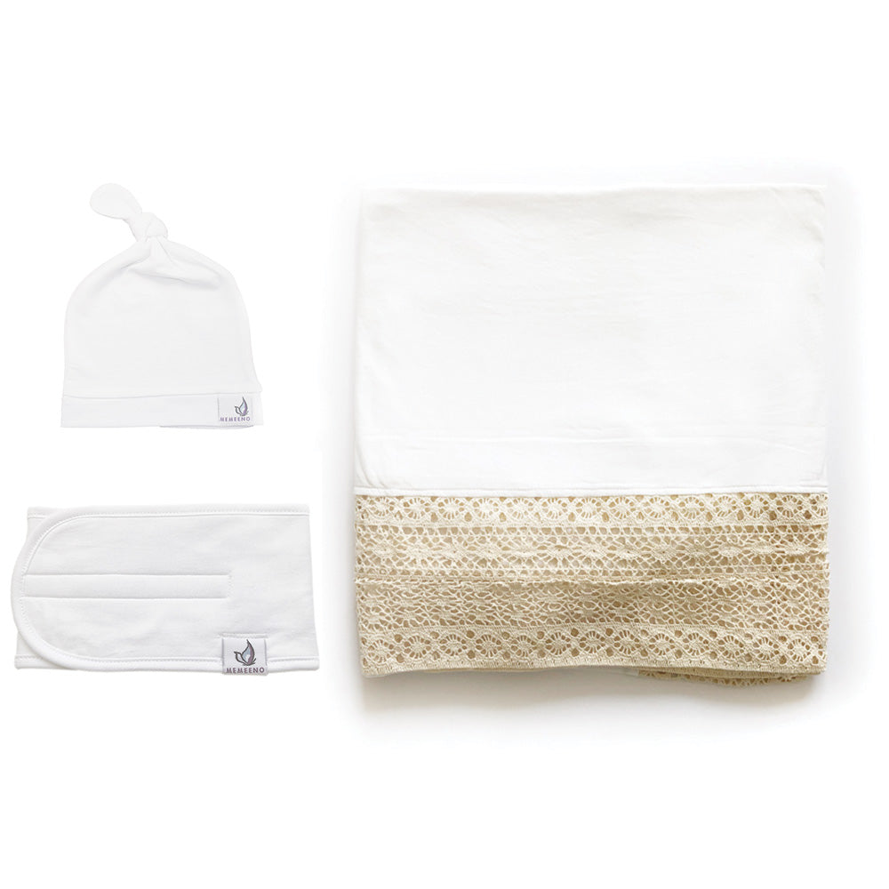 Bundle LUXE heirloom swaddle blanket, top knot hat, baby belly band for gas, colic relief