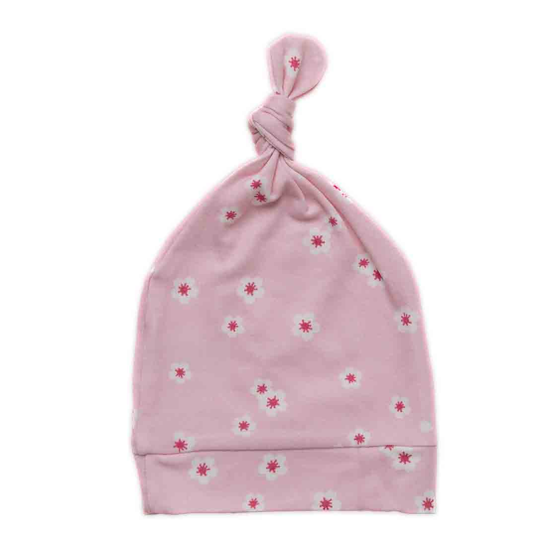 Newborn Top Knot Hat - Cherry Blossom - MEMEENO