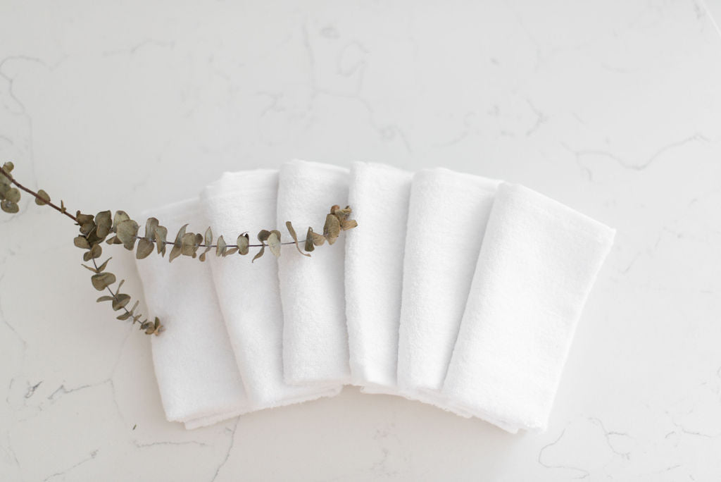 six organic bamboo washcloths