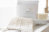 memeeno bundle of sisal bag pouch, olive oil soap and set of six washcloths