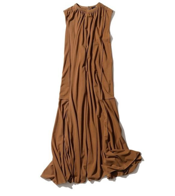 ATON Gathered Dress in Camel