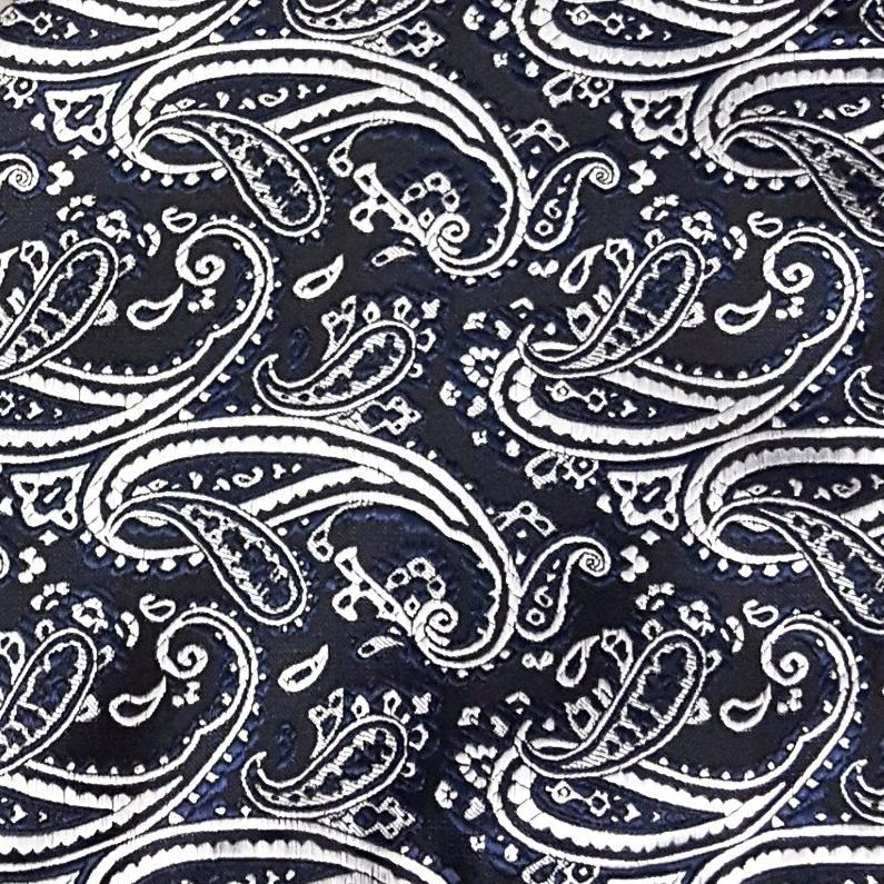 Black & Navy Paisley Pocket Square