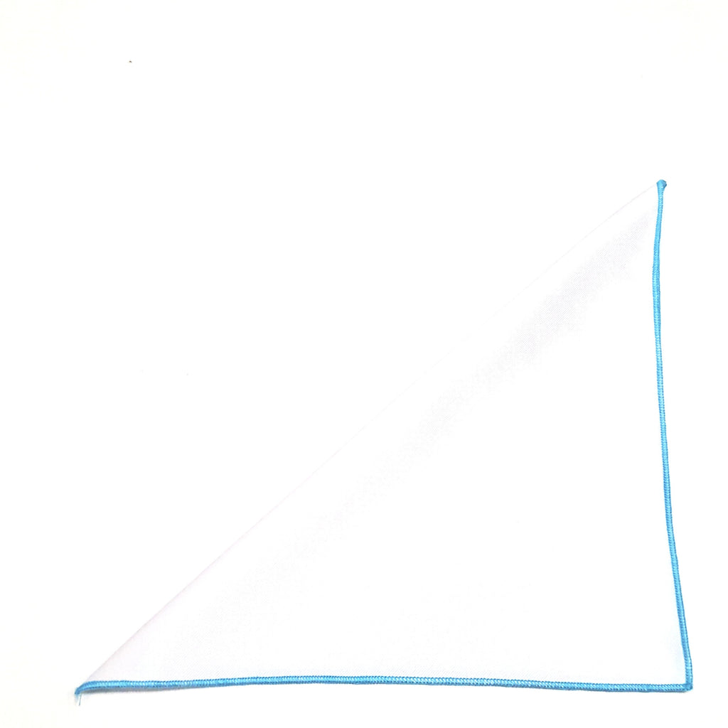 Solid White Pocket Square- Light Blue Border