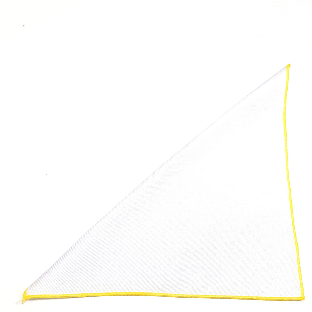 Solid White Pocket Square- Yellow Border