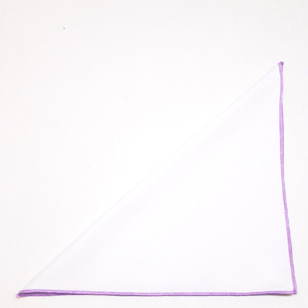 Solid White Pocket Square- Light Purple Border