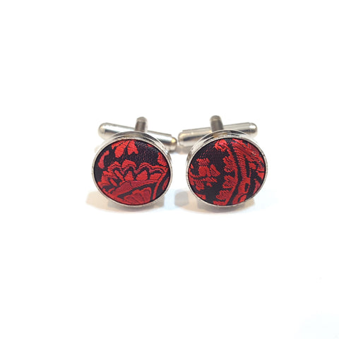 Red & Black Paisley Cufflinks