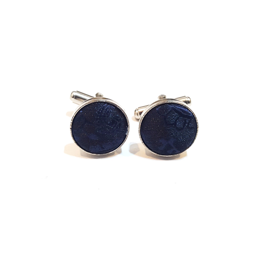 Navy Blue Paisley Cufflinks