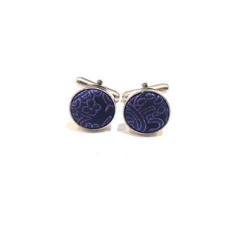 Dark Purple Paisley Cufflinks