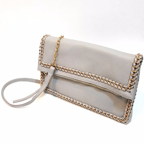 Grey Zipper Clutch