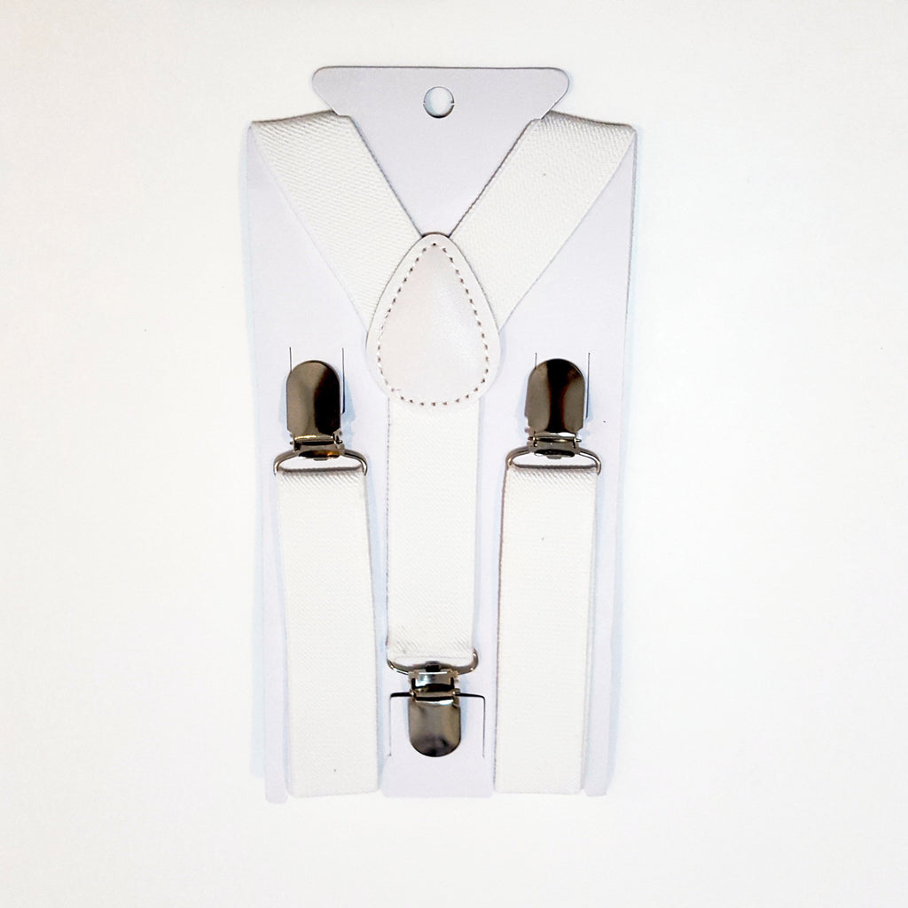 Kids White Suspenders
