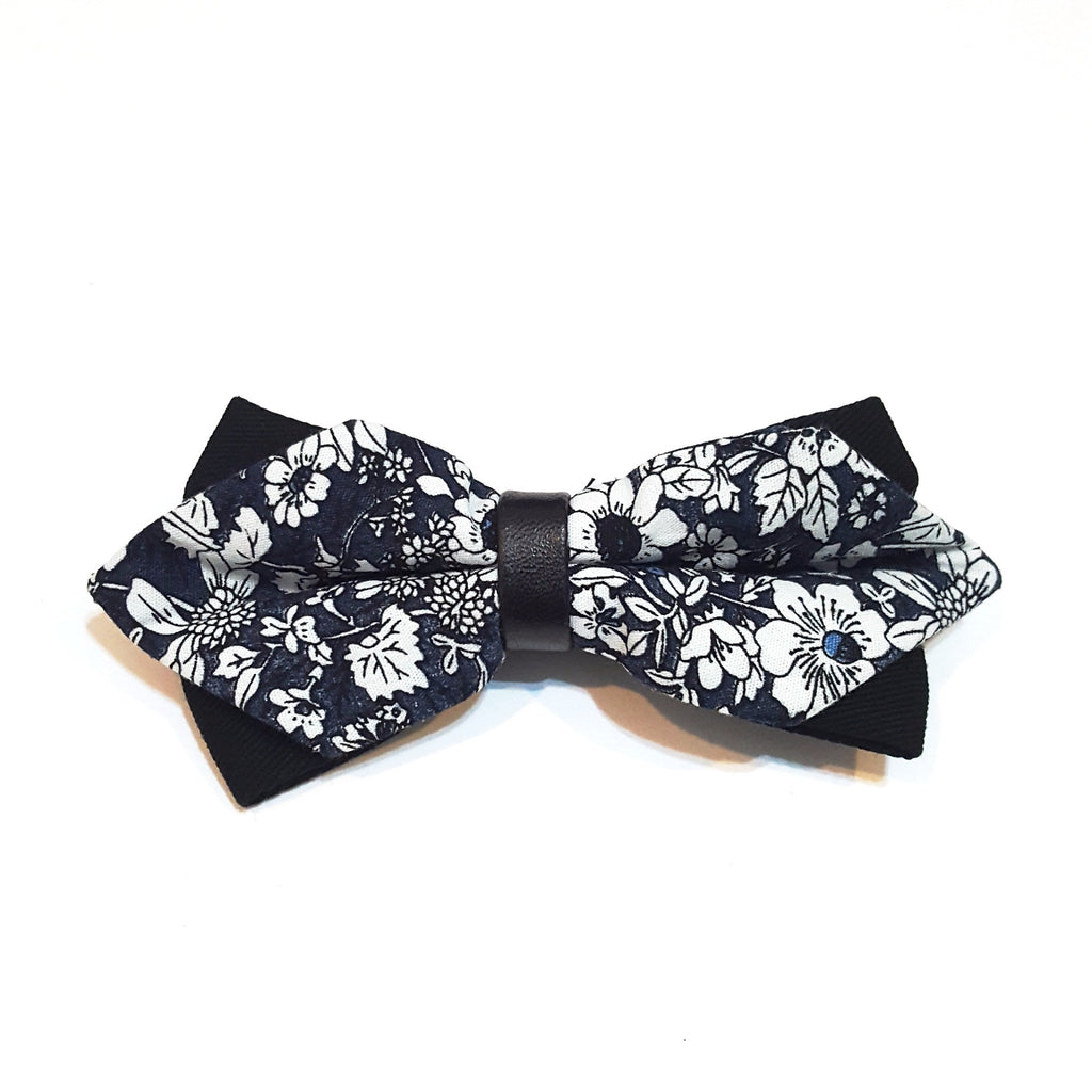 Kids Blue Floral Bow Tie