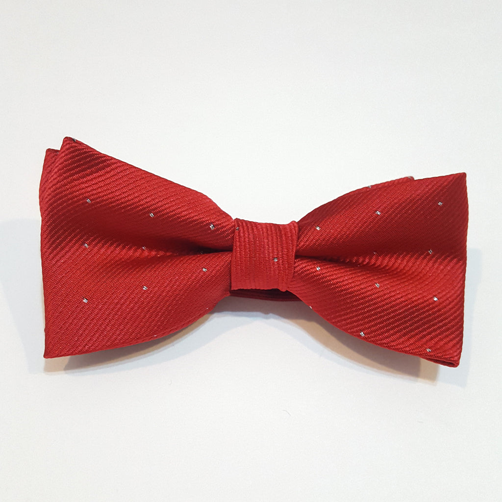 Kids Red & Silver Polka Dot Bow Tie