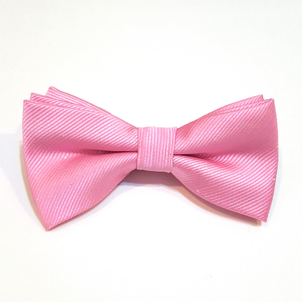 Kids Light Pink & Silver Polka Dot Bow Tie