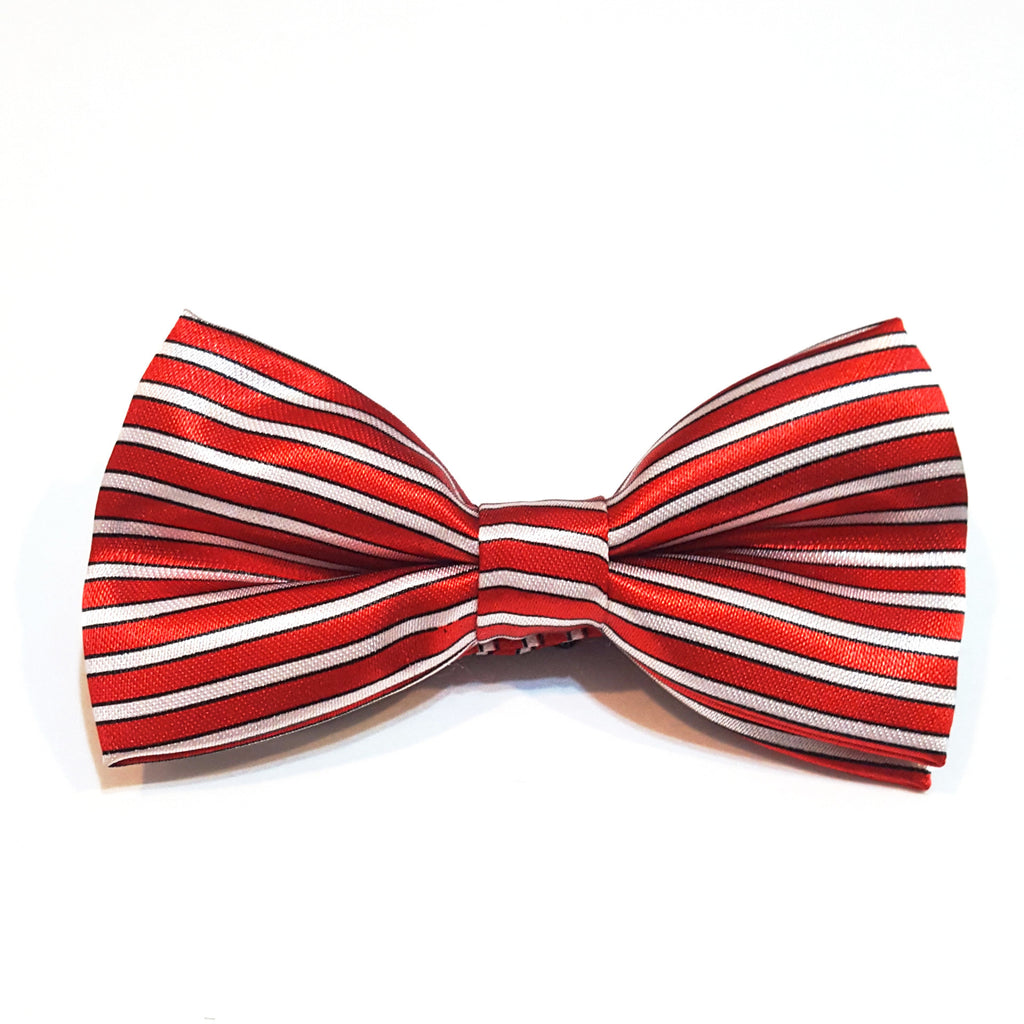 Kids Red & White Striped Bow Tie
