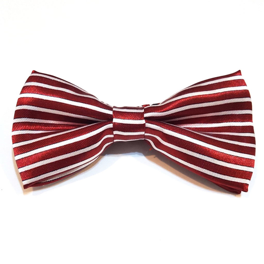 Kids Dark Red & White Striped Bow Tie