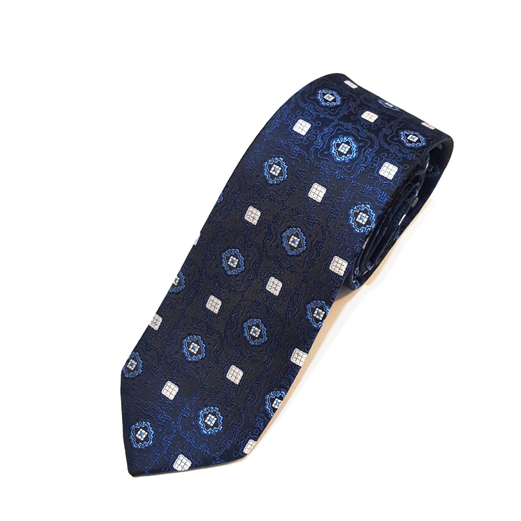 Navy & White Pattern Tie
