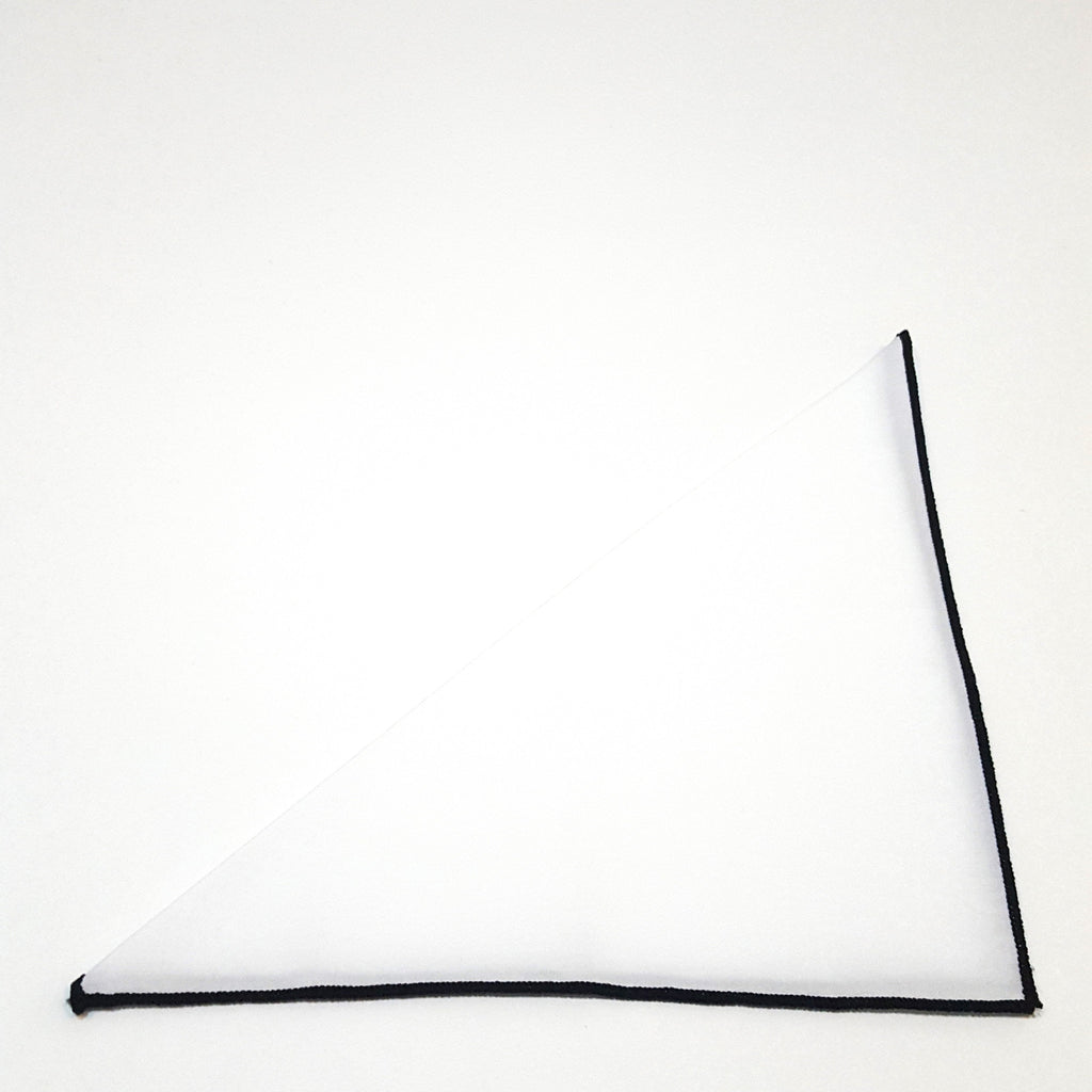 Solid White Pocket Square- Black Border