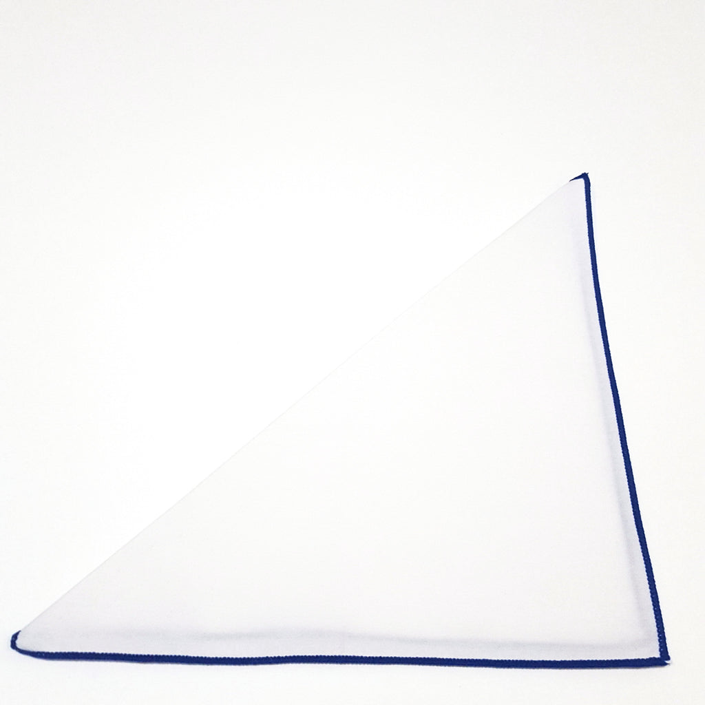 Solid White Pocket Square- Blue Border