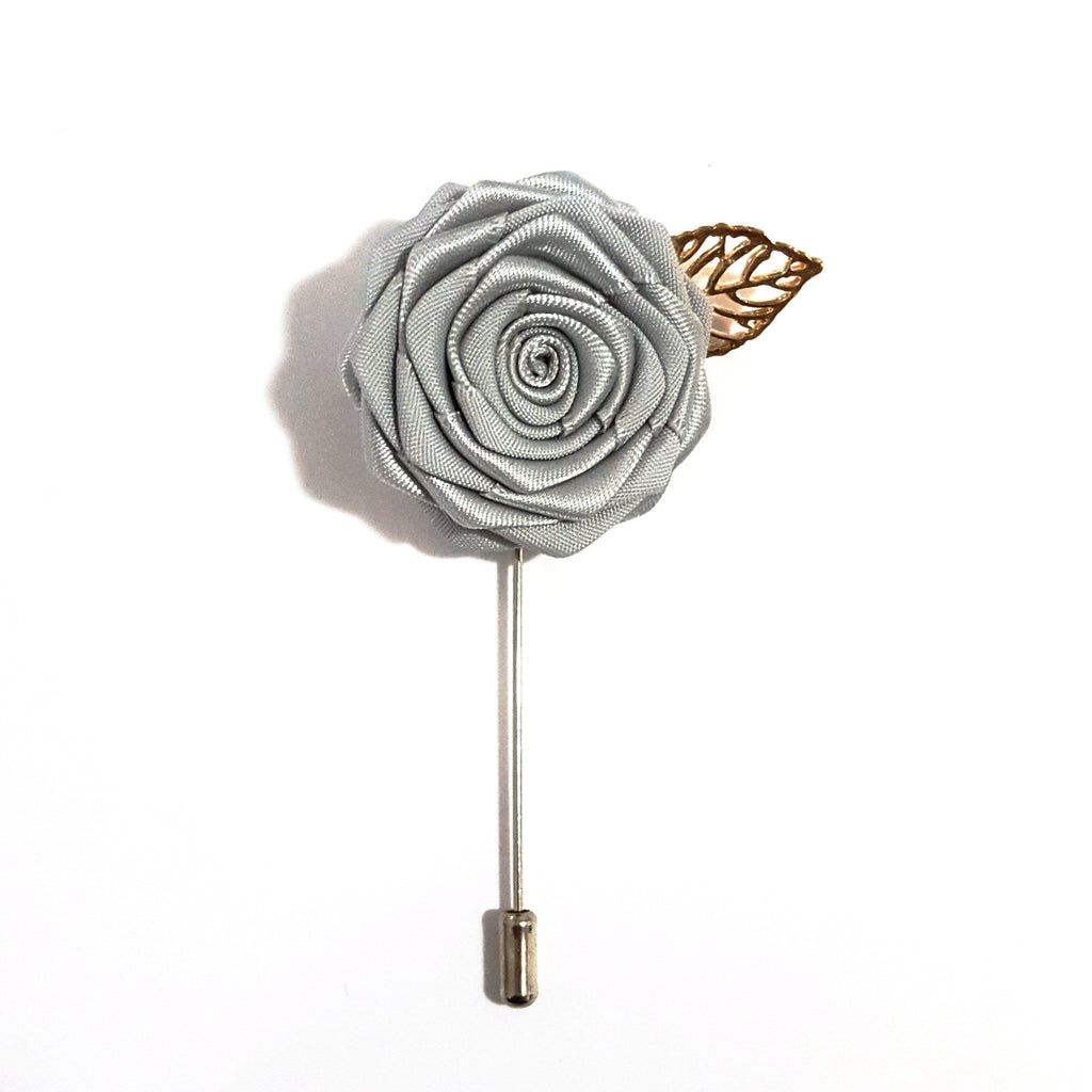 Silver Rose Lapel Pin