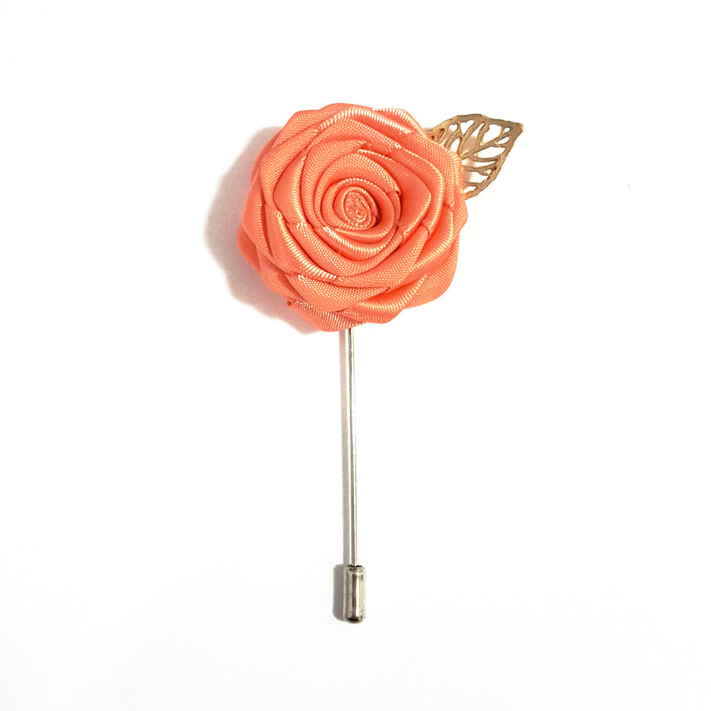 Peach Rose Lapel Pin