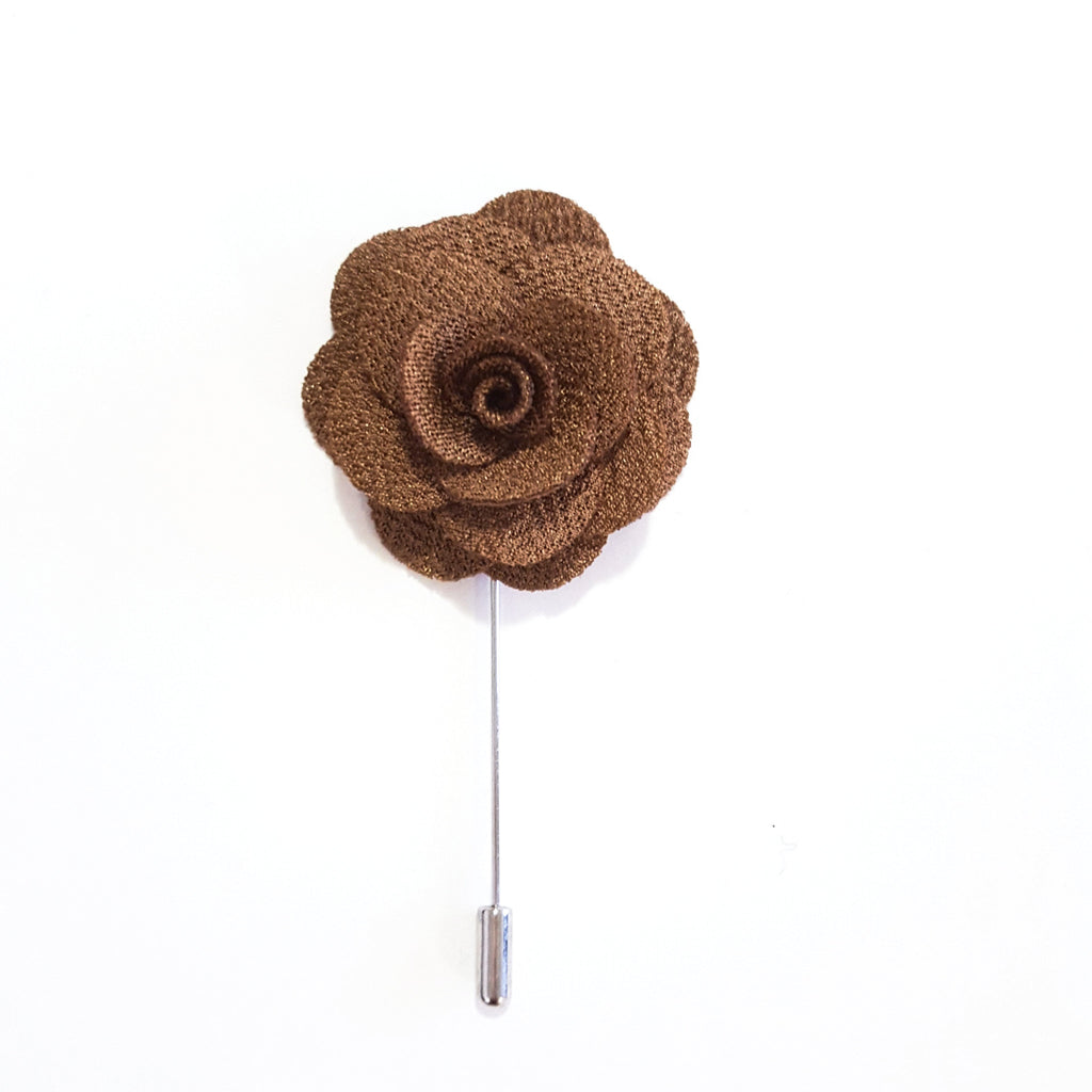 Chocolate Small 'Flower' Lapel Pin