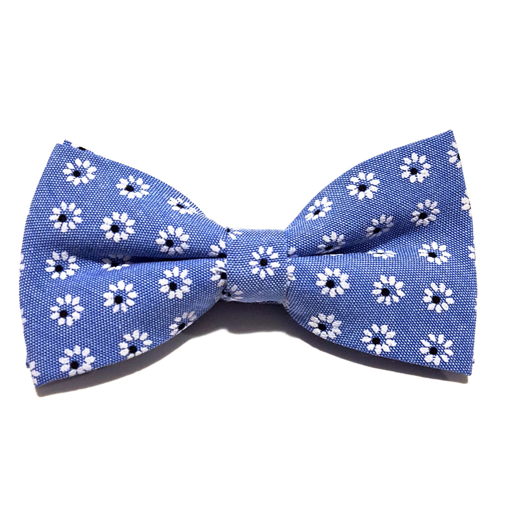 Blue & White Floral Bow Tie