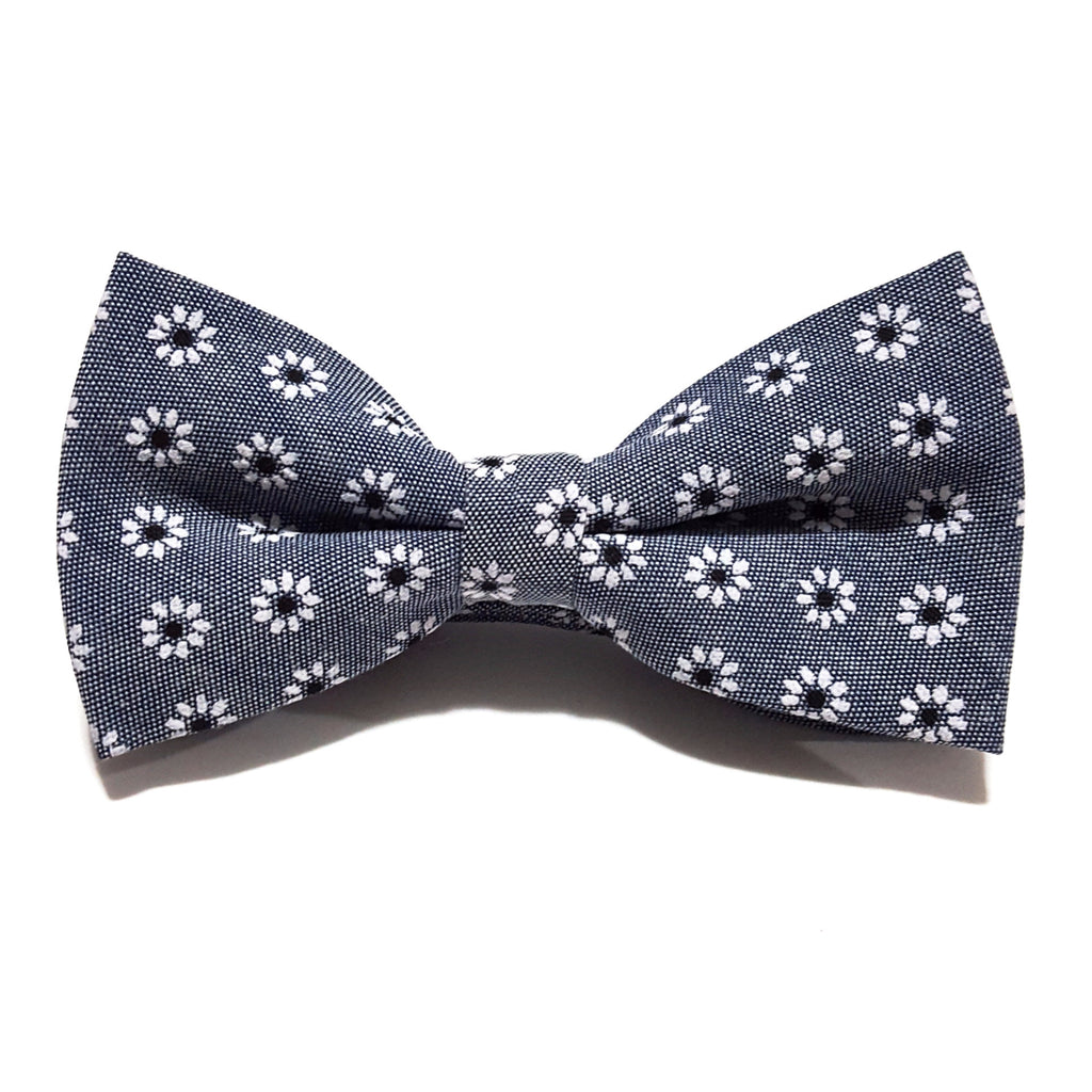 Grey & White Floral Bow Tie