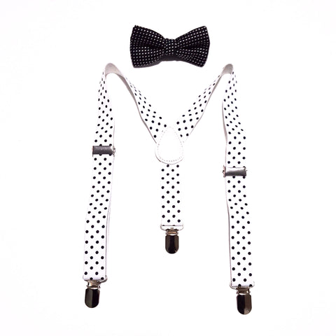 Kids Black Polka Dot Bow tie & White Suspenders