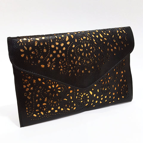 Black 'Posh' Cutout Envelope Clutch