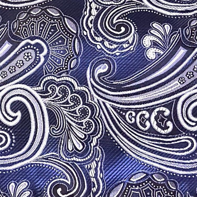 Blue & Silver Paisley Pattern Pocket Square
