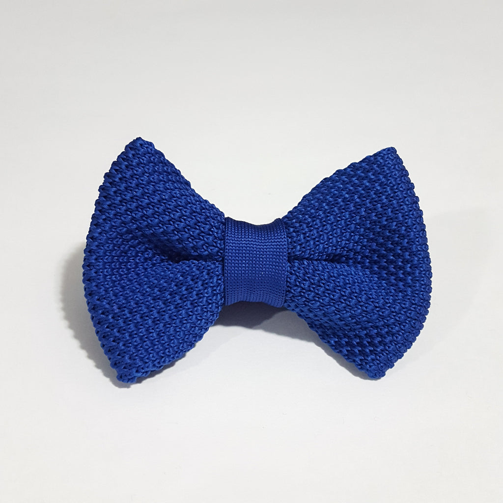 Kids Royal Blue Knit Bow Tie