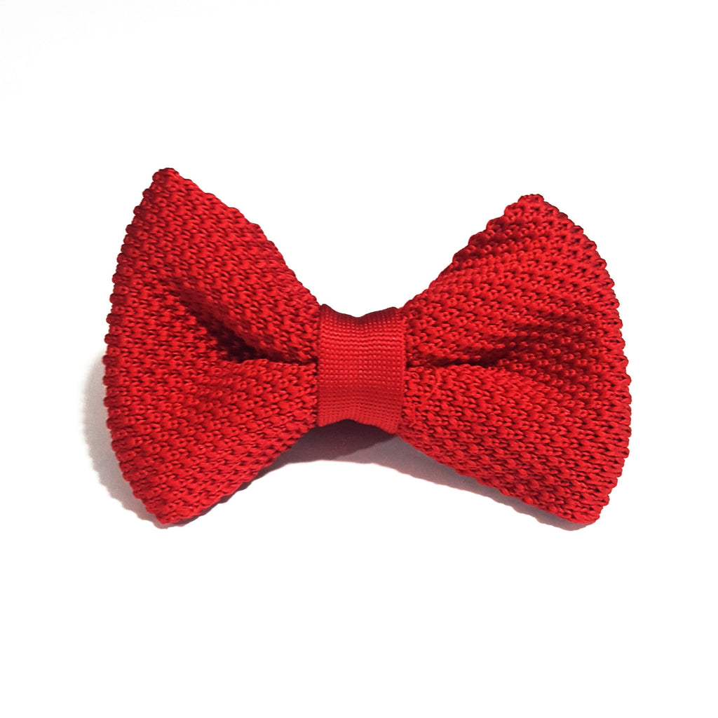 Kids Red Knit Bow Tie