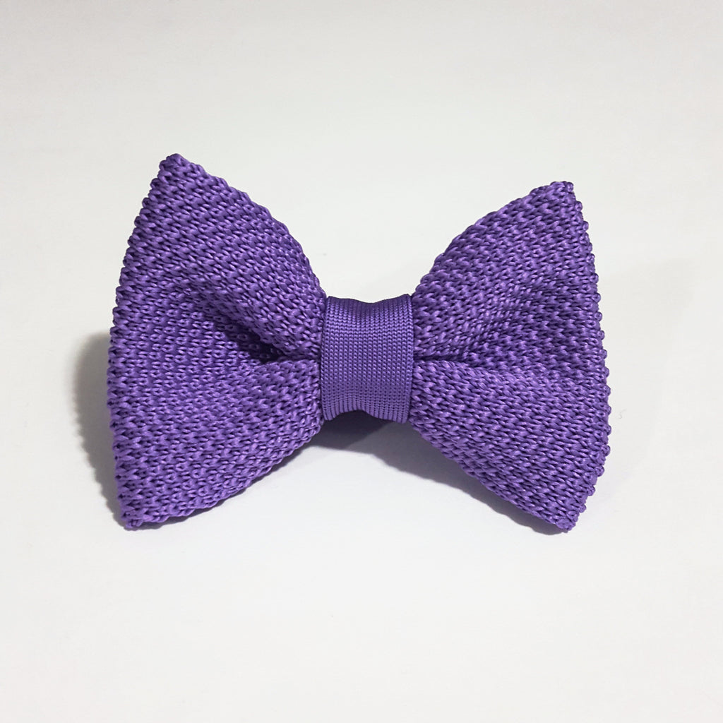 Kids Purple Knit Bow Tie
